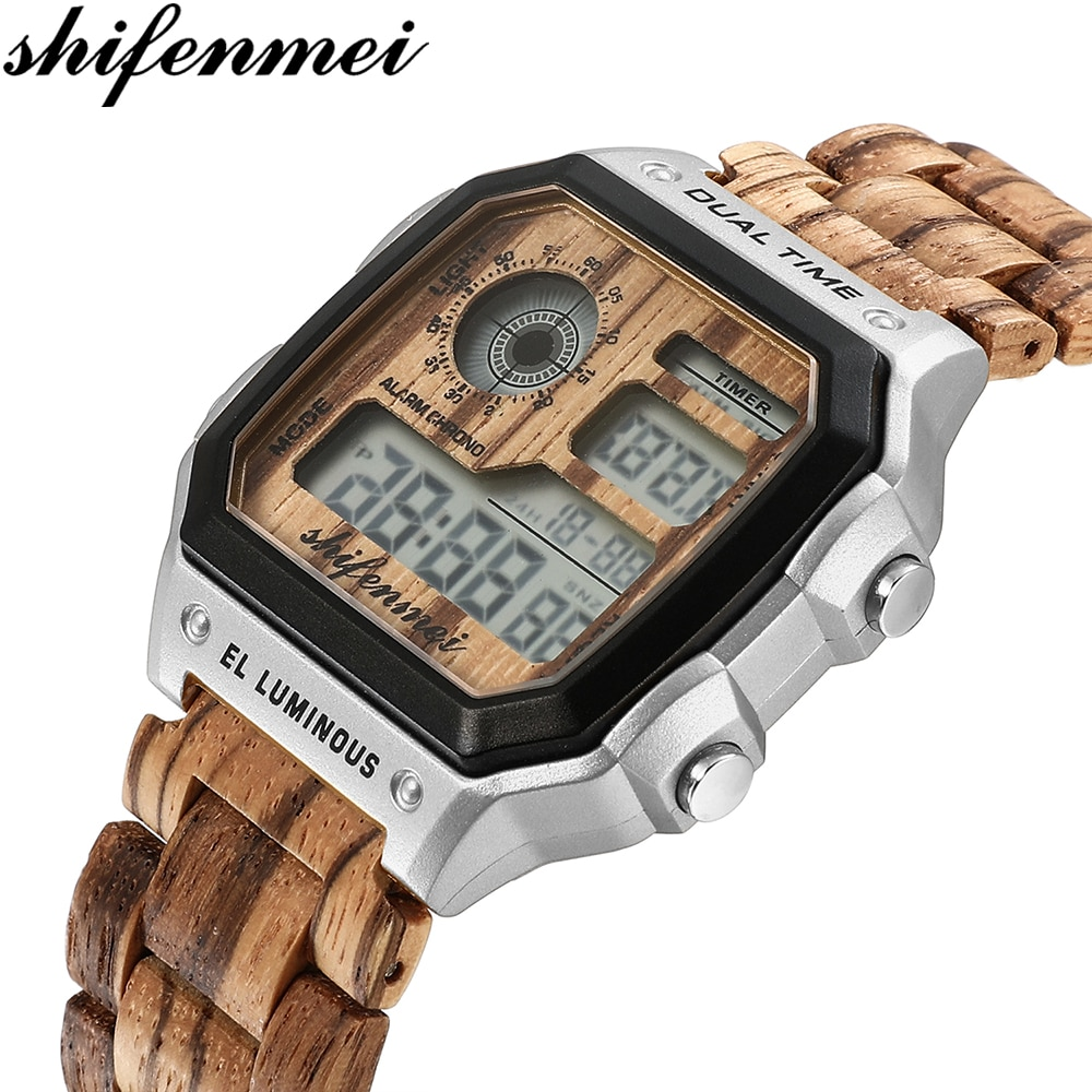 shifenmei Mens Watches Digital Rectangle Case Fashion Electronic Luminous Hand Clock Classical Wooden Alloy Wristwatch for Man