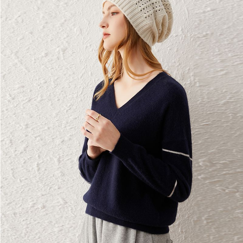 SHUCHAN SWEATER WOMEN V-Neck 30% Cashmere 70% Wool Striped Pullover Loose Free Shipping Items Clothes for Women enlarge