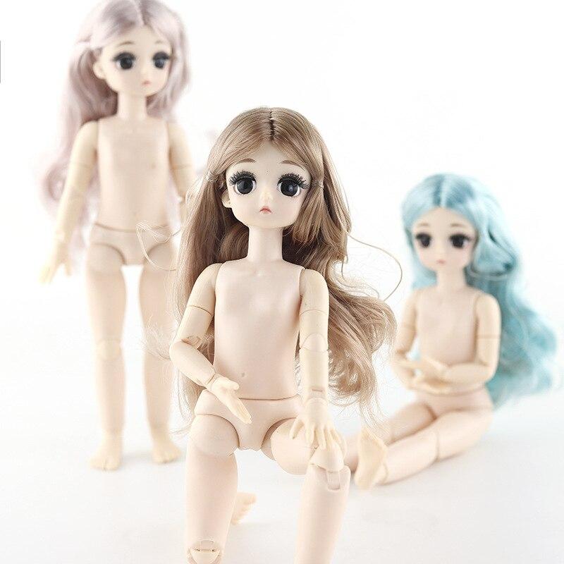 Novo 28cm 21 móveis articulados bonecas brinquedo 1/6 feminino nu corpo 4d olhos boneca meninas fantasia presentes