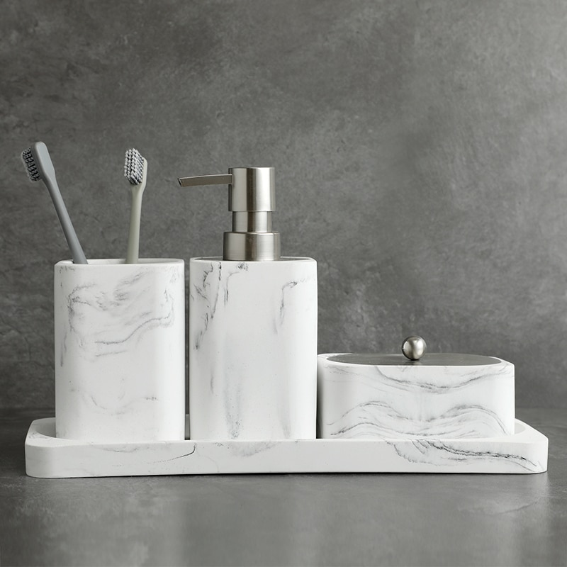 Bathroom Accessory Set Washing Tools Soap Dispenser Cotton swab box Mouthwash Cup Imitation marble Household Articles Shower Gel enlarge