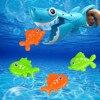 Divertido juguete de baño de tiburón agarrador para niños y niñas tiburón azul con dientes con 4 juguetes de baño interactivo juguete de agua de pesca