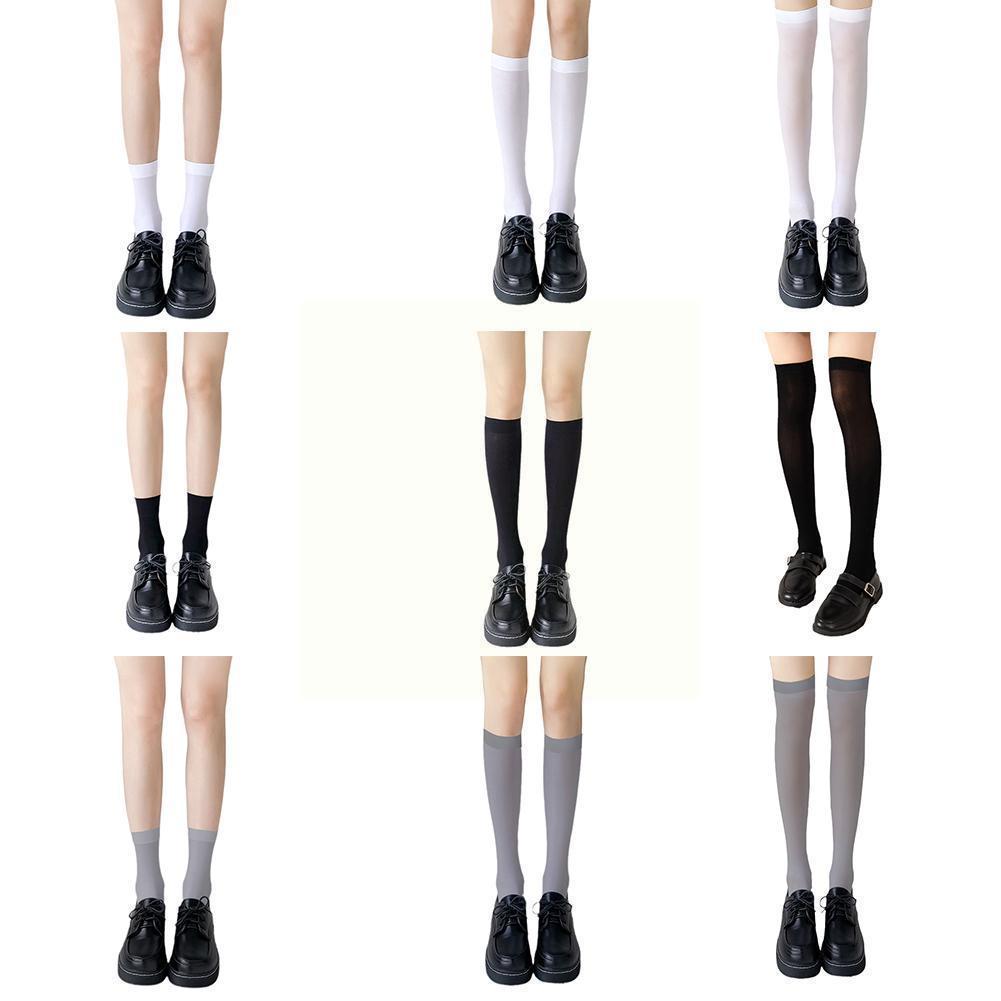 Черно-белые носки в студенческом стиле, женские гольфы, носки, носки и длинные гольфы до середины бедра S2f5