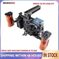 magicrig bmpcc 4k 6k camera cage with nato handle adjustable wooden handle t5 ssd card mount clamp for bmpcc 4k 6k camera