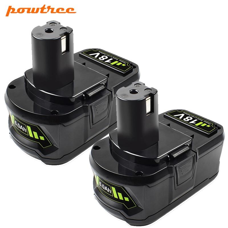 18V 6.0Ah Li-ion Rechargeable Battery for Ryobi ONE+ cordless Power Tool BPL1820 P108 P109 P106 P105 P104 P103 RB18L50 RB18L40 T