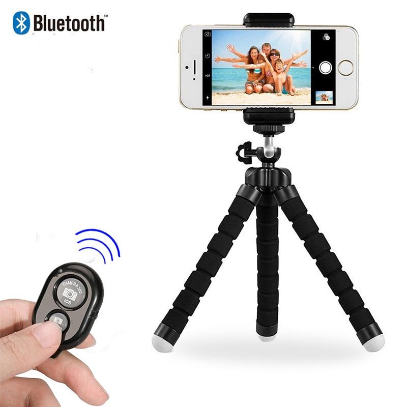 Briame Flexible esponja pulpo Mini trípode con Bluetooth obturador remoto para iPhone mini cámara trípode teléfono soporte clip