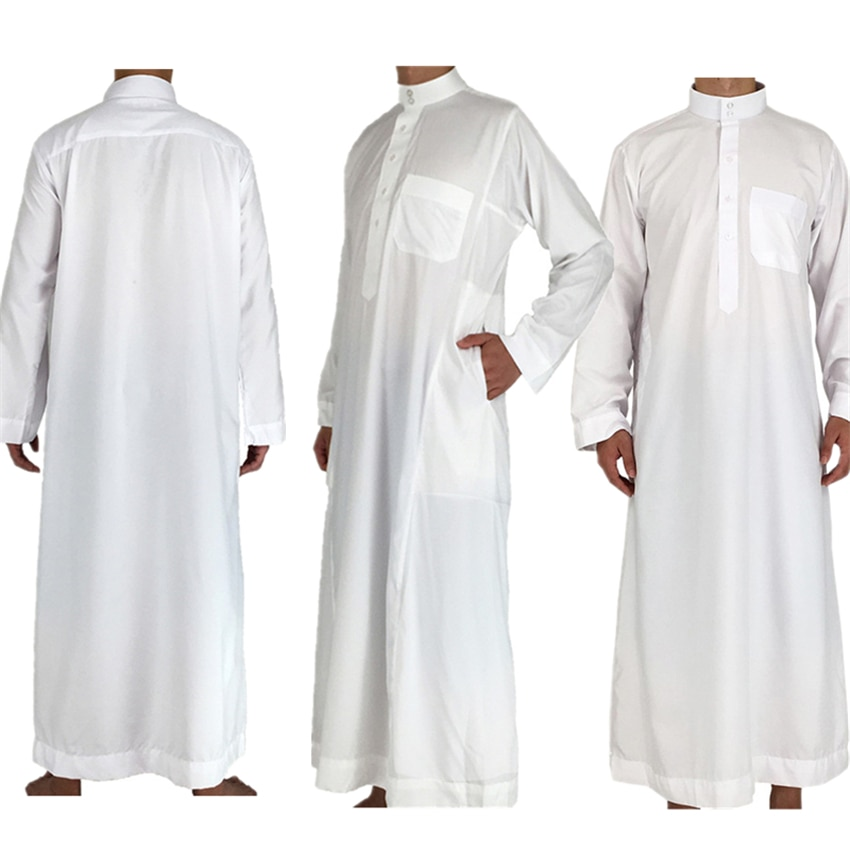 White Long Sleeve Islamic Men Clothing Jubba Thobe Abaya Dubai Saudi Arabia Traditional Ramadan Kurta Eid Arab Robes