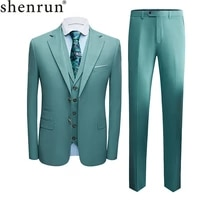 shenrun suits slim fit business formal casual suit wedding groom stage singer host banquet party prom three pieces light green