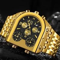 TEMEITE Quartz Mens Watches Top Brand Luxury Golden Clock 3 Time Zone Date Stainless Steel Strap Military Oversize Wristwatch