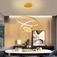 new nordic simple gold luster 3 layer round ring led chandelier for bedroom living dining study room loft interior light fixture