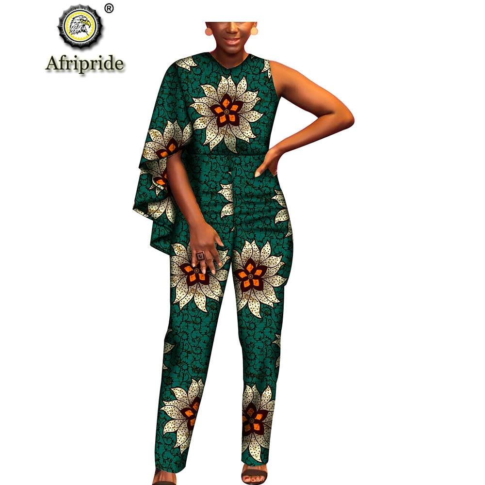 2018~2019 african jumpsuits for women AFRIPRIDE dashiki bazin riche pure cotton ankara print private custom clothes S1829003