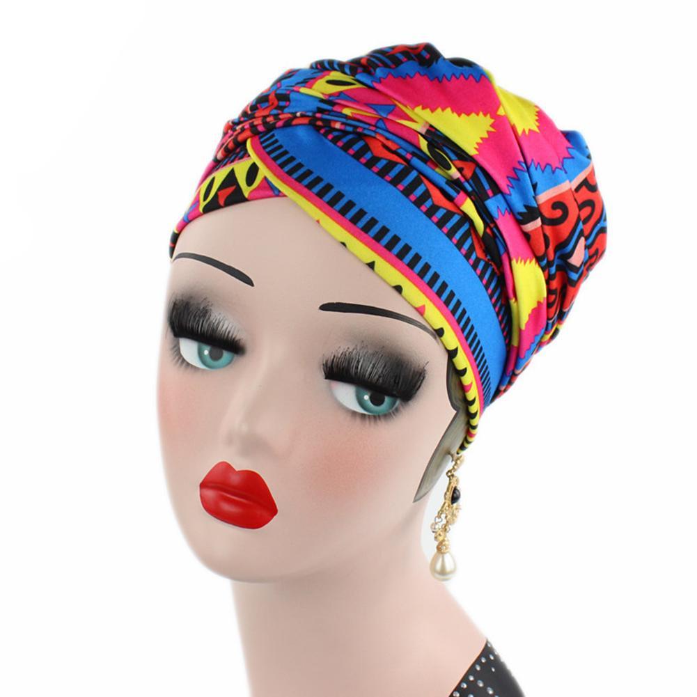2020 Women African Pattern Flower Turban Muslim Turban Headscarf Headwrap Ladies Chemo Cap Bandanas Female Hair Accessories