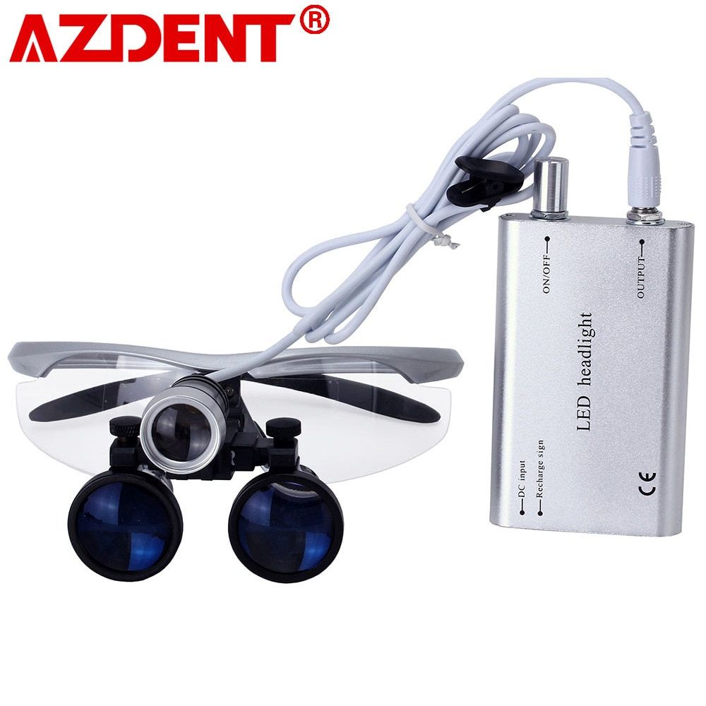 3.5X Magnification Binocular Dental Loupe Surgery Surgical Magnifier with Headlight LED Light Medica