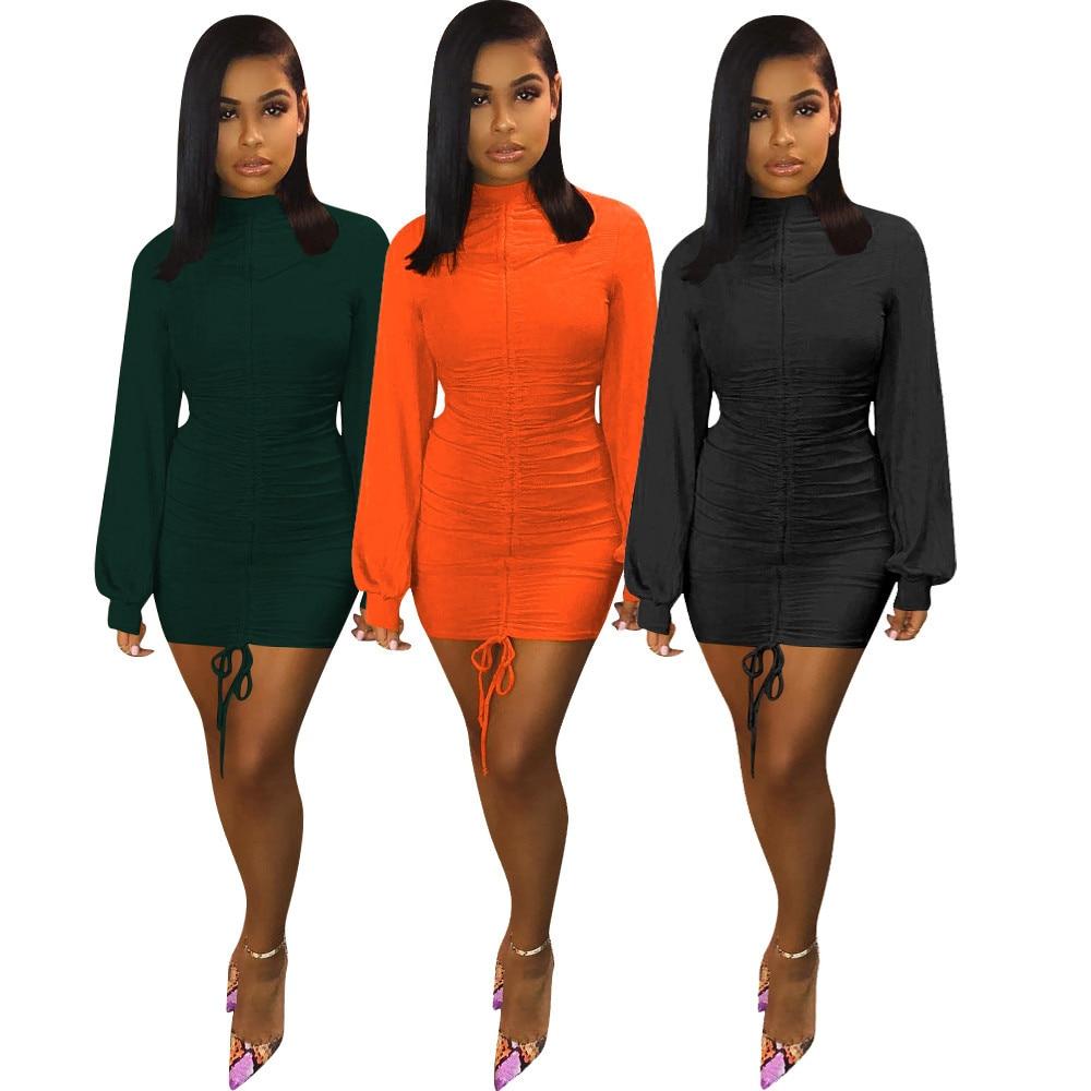 Echoine mini vestido de manga longa, sexy, skinny, para o outono, manga lanterna, laranja, vintage, roupas de festa, clube, preto