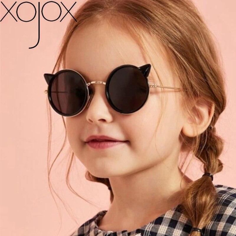 XojoX, gafas de sol Oreja de Gato para niños, bonitas gafas redondas de dibujos animados para niños para gafas de chicas, gafas para exteriores UV400