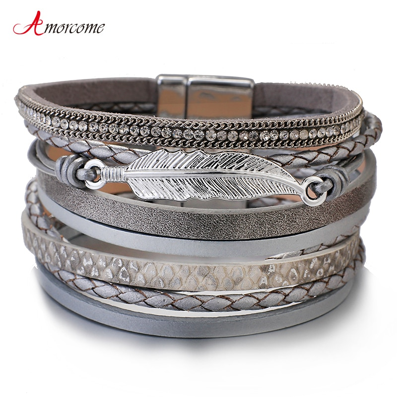 Amorcome Metal Feather Genuine Leather Bracelet for Women Jewelry Fashion Multilayer Bohemian Charm Wide Bracelets & Bangles allyes tree of life charm pearl leather bracelets for women fashion ladies bohemian multilayer wide wrap bracelet female jewelry