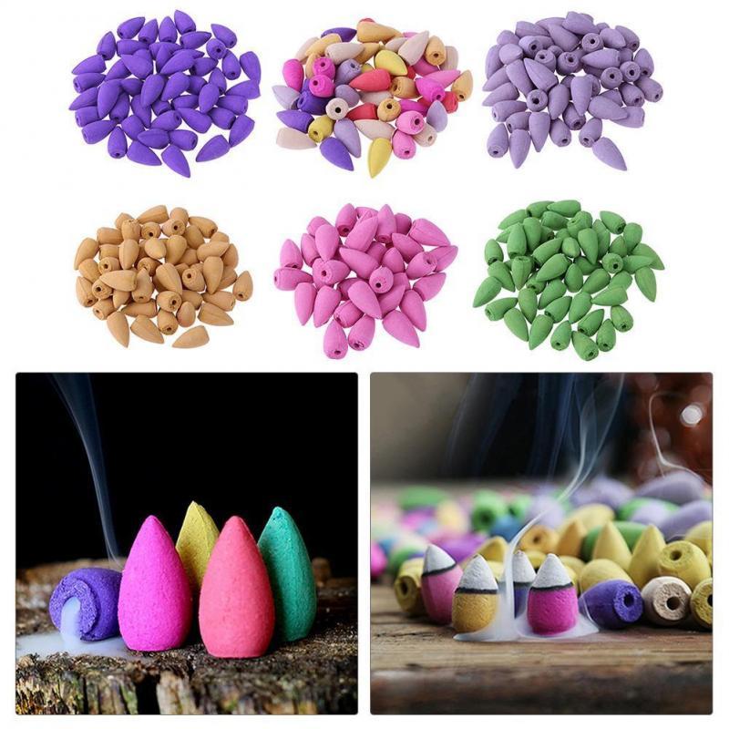 10 unids/bolsa conos de incienso para reflujo accesorios de Torre forma de bala colorida incienso Rosa limón Natural sándalo té Agarwood
