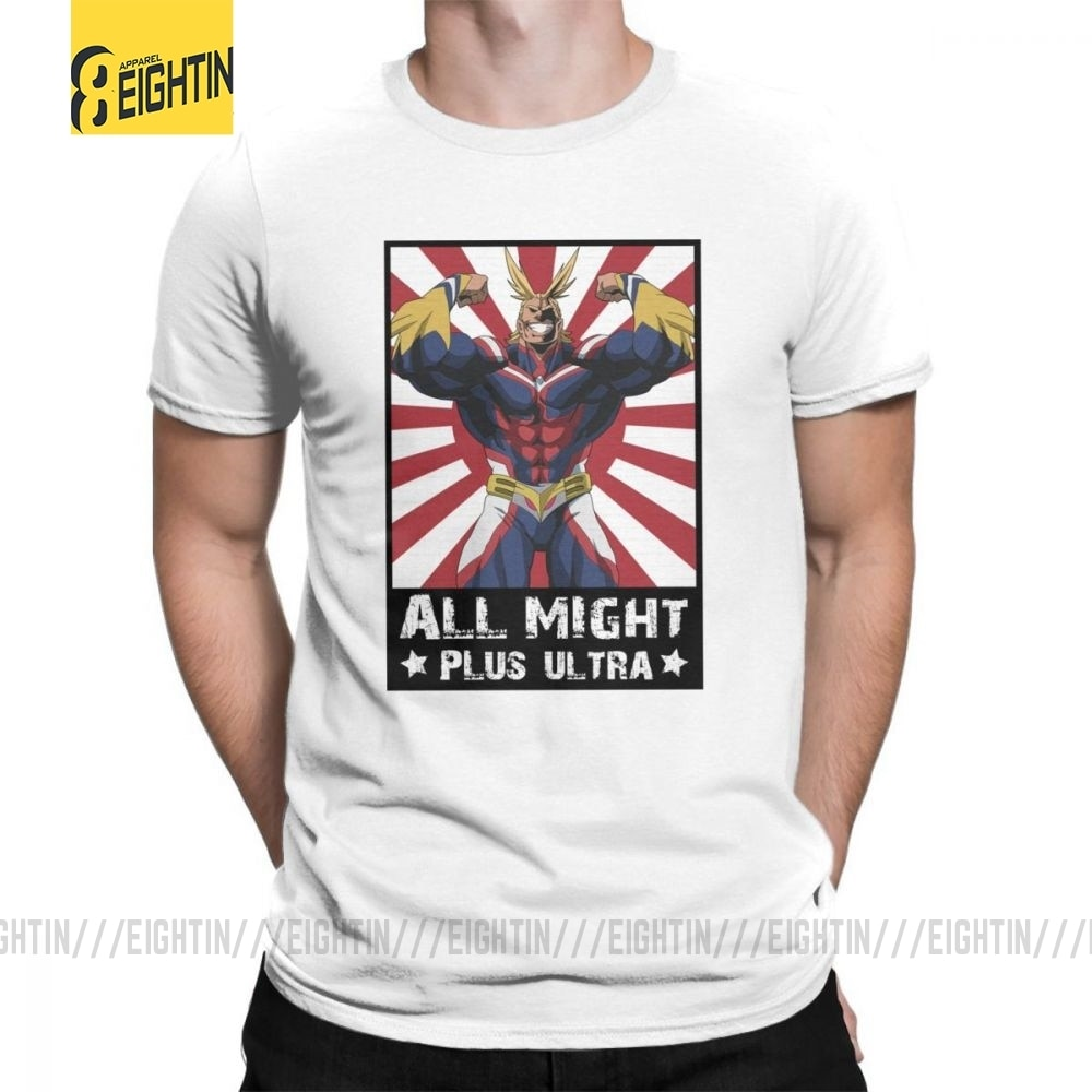 Meu herói academia all might plus ultra alta qualidade popular t-shirts dos homens t camisas em torno do pescoço t algodão purificado manga curta
