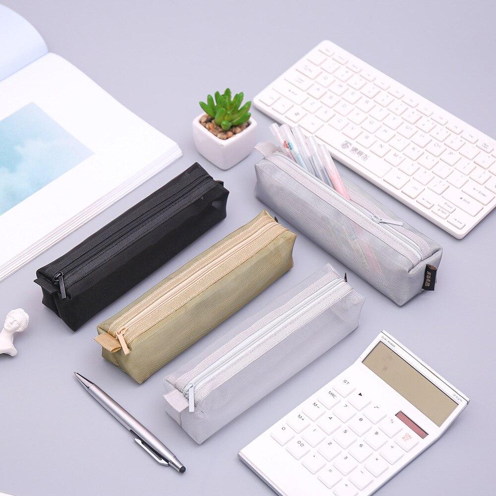 Simples transparente malha lápis caso kawaii náilon caneta saco caixa de papelaria bolsa para crianças presente escritório escola suprimentos zakka