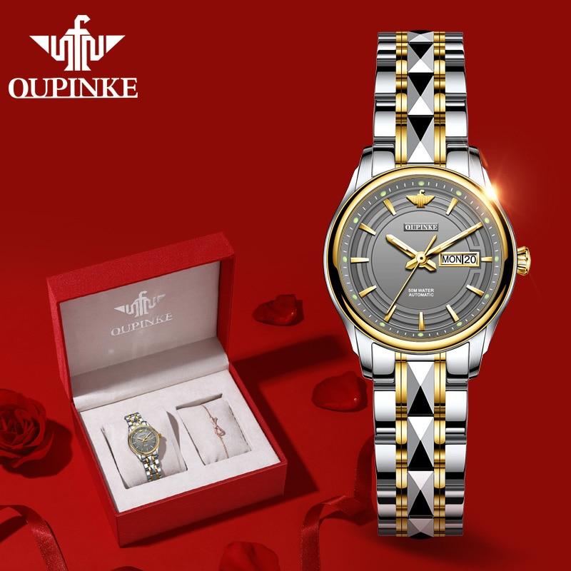 OUPINKE Women Mechanical Wristwatch Fashion Luxury Brand Ladies Watches Sapphire Automatic Self-Wind Bracelet Watch montre femme