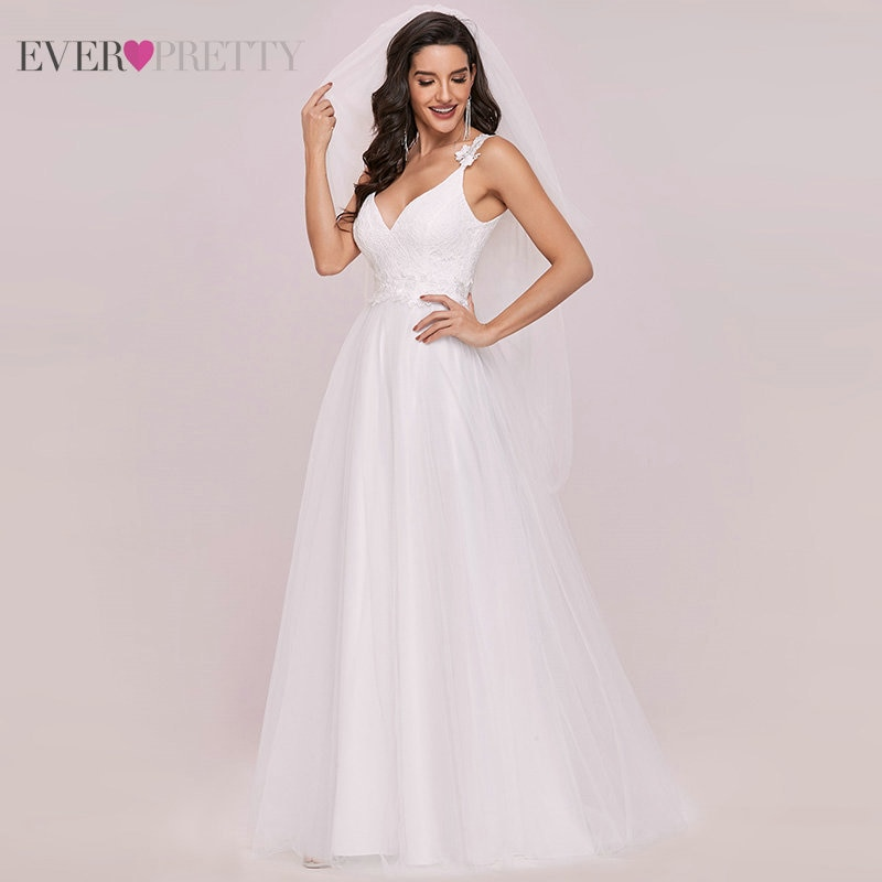 Lace Wedding Dresses For Women Ever Pretty A-line V-neck Backless Sleeveless Elegant Bridal Dress Свадебное Платье 2021 EH00216