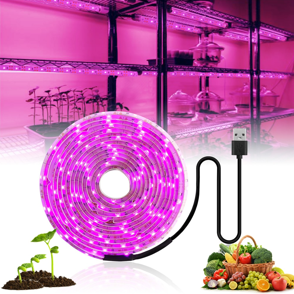 3m led grow light strip full spectrum uv lamps for plants waterproof phyto tape with adapter and switch for greenhouse grow tent LED Grow Light Full Spectrum 5V USB Grow Light Strip 2835 LED Phyto Lamps For Plants Greenhouse Hydroponic Growing 0.5M 1M 2M 3M