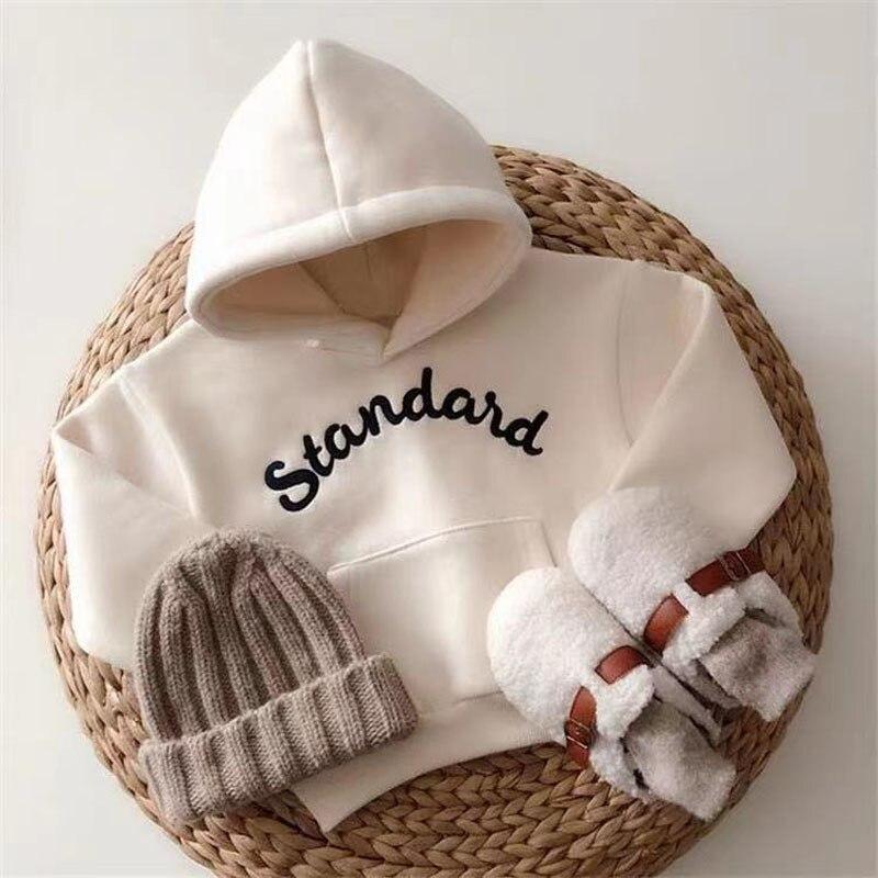 Толстовка с капюшоном для маленьких мальчиков и девочек, зимняя кофта с капюшоном, корейский стиль, кофта большого размера для новорожденны...