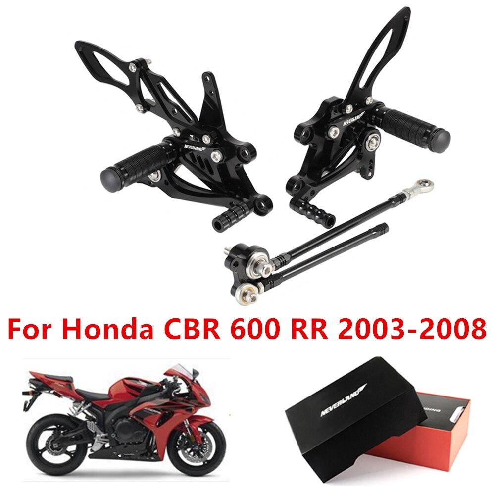 Apoio para os pés da motocicleta cnc pé piloto conjunto traseiro peg pedal para honda cbr600rr 2003 2004 2005 2006 2007 2008 cbr 600 rr cbr600 rr