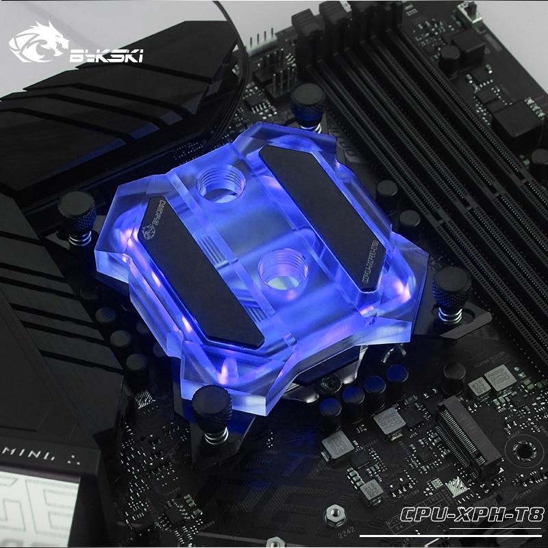 BYKSKI CPU bloc deau pour INTEL LGA 1150 1151 1155 1156 X99 X299 plate-forme ASUS MSI AURA + 12V RGB,+ 5V ARGB CPU-XPH-T8