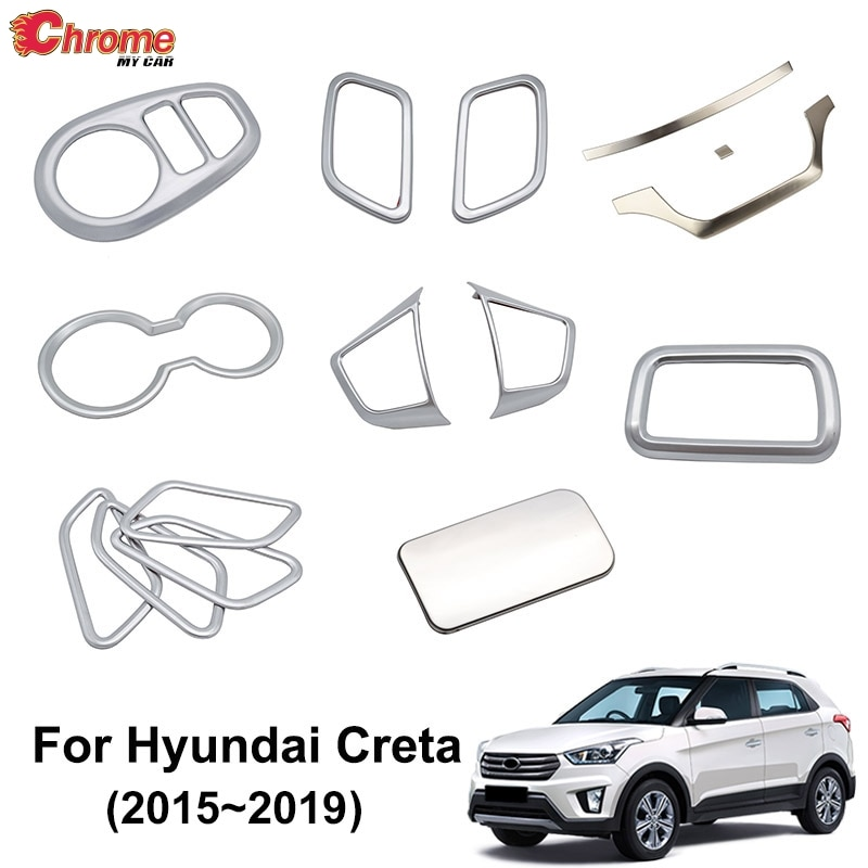 For Hyundai Creta IX25 2015 2016 2017 2018 Chrome Interior Door Handle Cup Holder Trim Cover Decorat