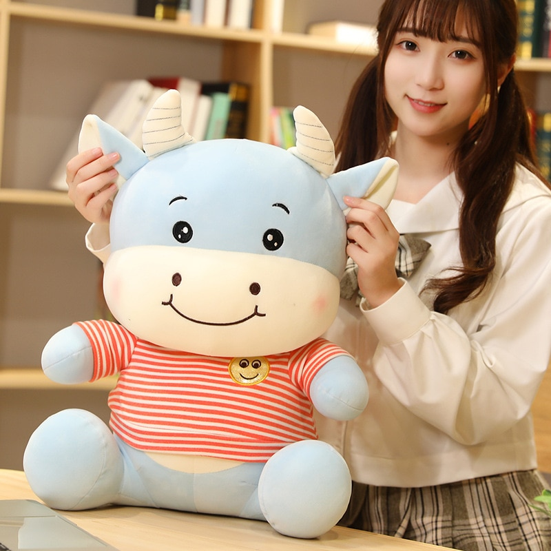 Huggable Smile Cattle Plush Toys Stuffed Animal Cow Plush Doll Cute Soft Cartoon Toys for Children Baby Christmas Gift  - buy with discount