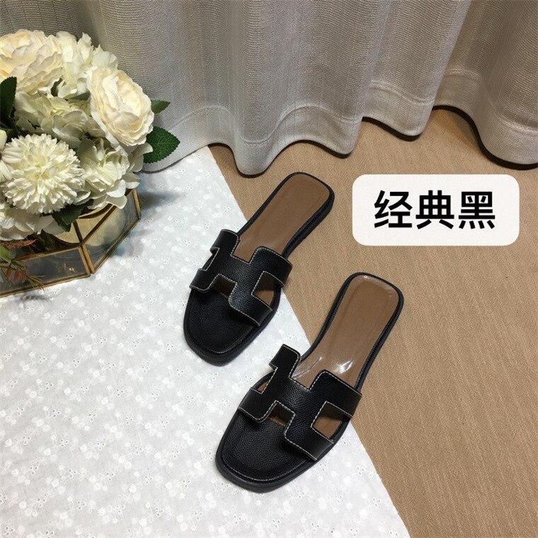 2021 New Famous Designer Brand Slippers High Quality Flip Flops Genuine Leather Sandals Women Fashio