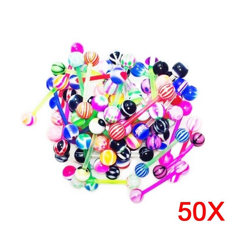 50 Uds mezclado anillo para lengua con bola ombligo y pezón anillos de haltera bares cuerpo joyería Piercing FS99