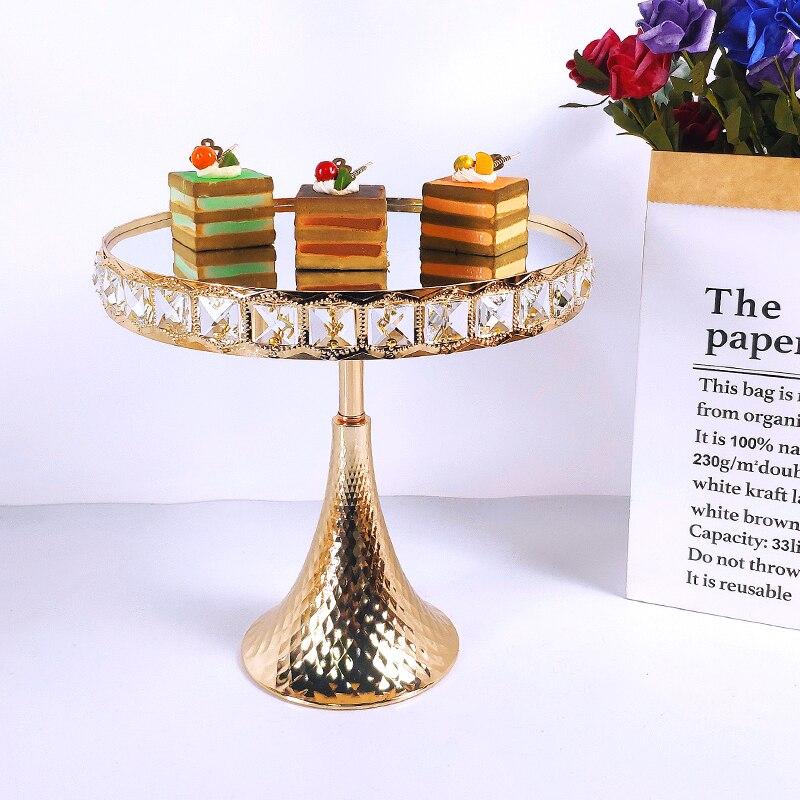1 قطعة كعكة الزفاف الوقوف ساحة كريستال حفلة عيد ميلاد الحلوى المعادن كب كيك الركيزة عرض لوحة ديكور المنزل الذهب الاكريليك مرآة