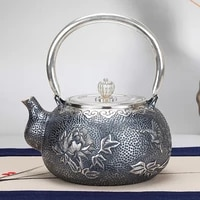 peony handmade silver pot 999 sterling silver kettle boiling kettle household silver teapot kung fu tea set about 860 g1000ml