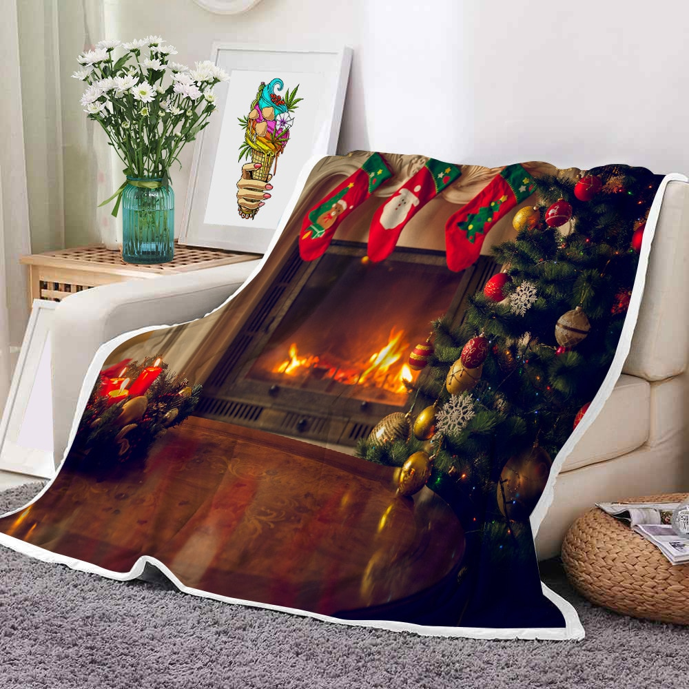 Happy New Year Christmas Sherpa Blanket Two Layer Thicken Fleece Blanket Fluffy Throw Blanket  Bedspreads for Bed Decorative