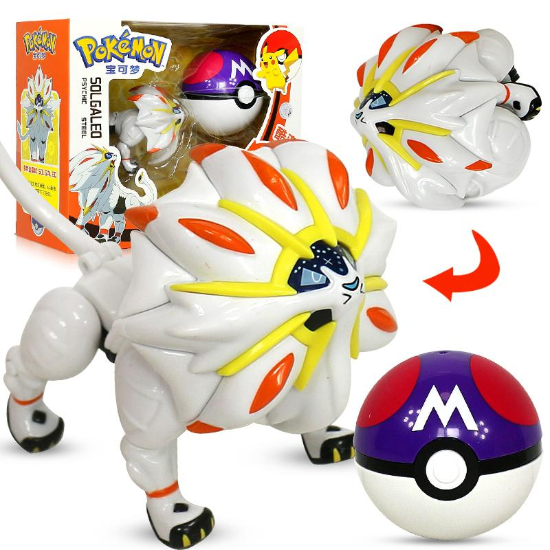 Pokemon Pikachu Solgaleo Toys Model Pocket Elf Ball Manual Deformation Robot Elf Baby Set Movie & TV Toy Figure 4pcs magic hair elf trolls ugly baby troll bobby princess base model toy car decoration ornaments