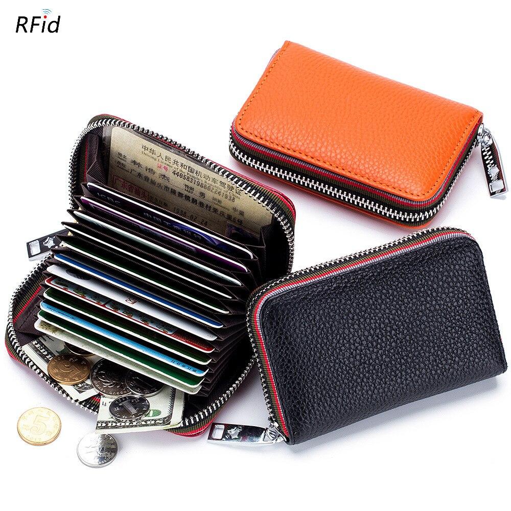 Porte-cartes petit portefeuille à fermeture éclair, en cuir véritable, pour hommes et femmes, Design accordéon, rfid ID, sacs pour cartes de crédit de visite