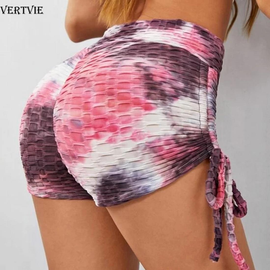 VERTVIE Yoga Shorts Women Sexy Push Up Fitness Short Legging High Waist Gym Trunks Running Tights Sportswear Striped Underwear