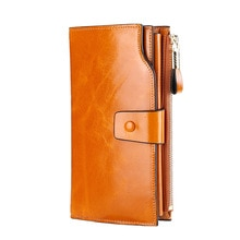 Business Genuine Leather Clutch Wallet Oil Wax Cowhide Long Leather RFID Phone Bag Purse Card Holder