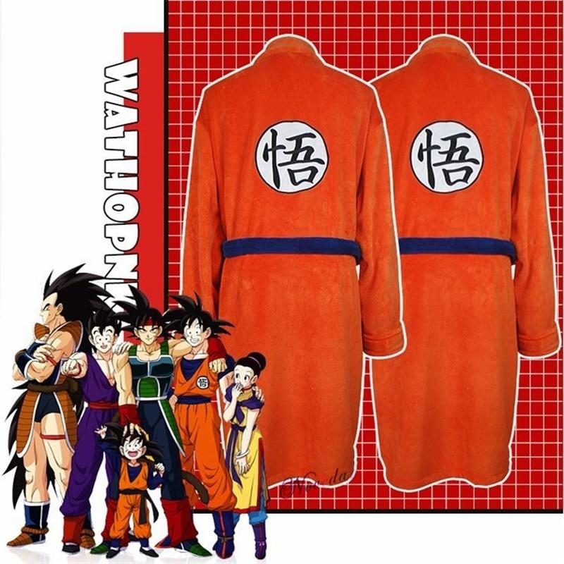 Adult Anime Bathrobe Cosplay Son Goku Costume Man Women Bath Robe Sleepwear Plush Robe Women Men Pajamas Cartoon