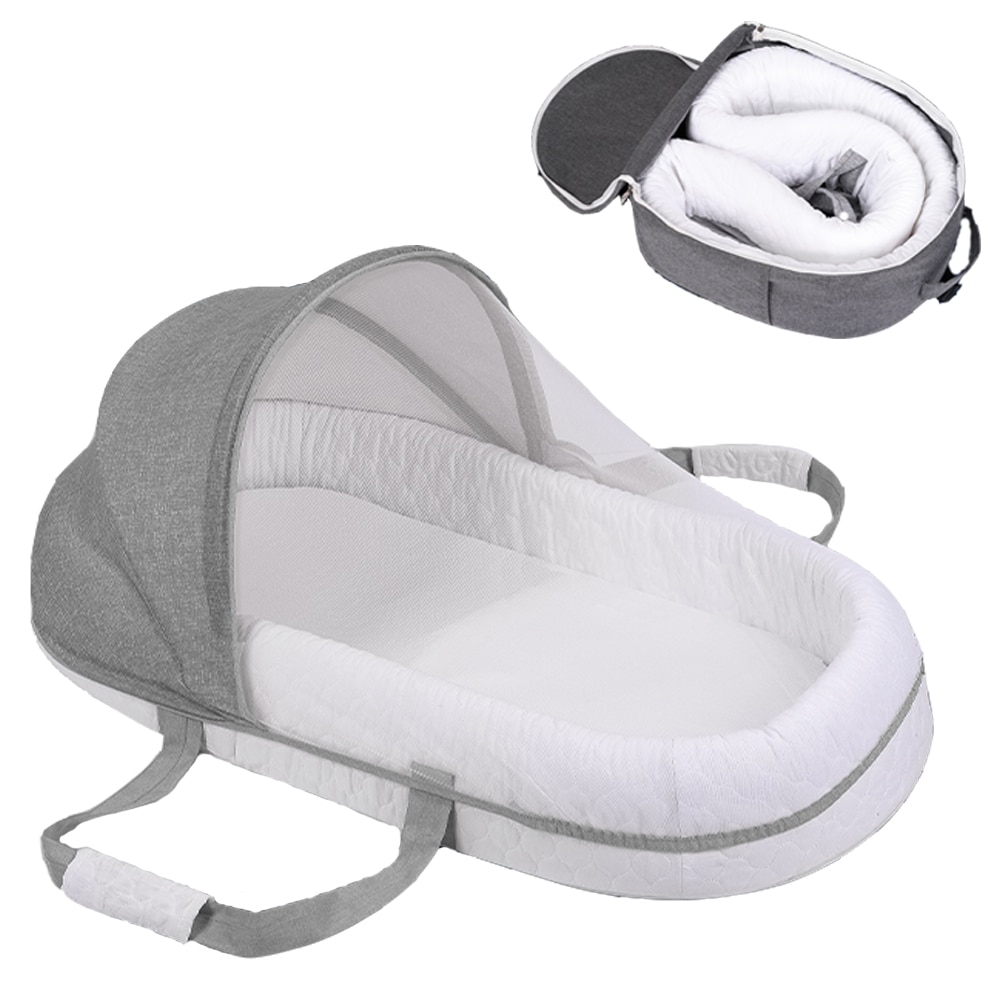 Breathable Mosquito Net Portable Baby Bed Bumper Diaper Bag Backpack Sleeping Baby Nest for Newborns Portable Cribs for Baby Bed