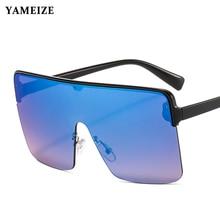 YAMEIZE Rimless Oversized Sunglasses Women 2020 Luxury Brand Punk Sun Glasses Flat Top Eyeglasses Bi
