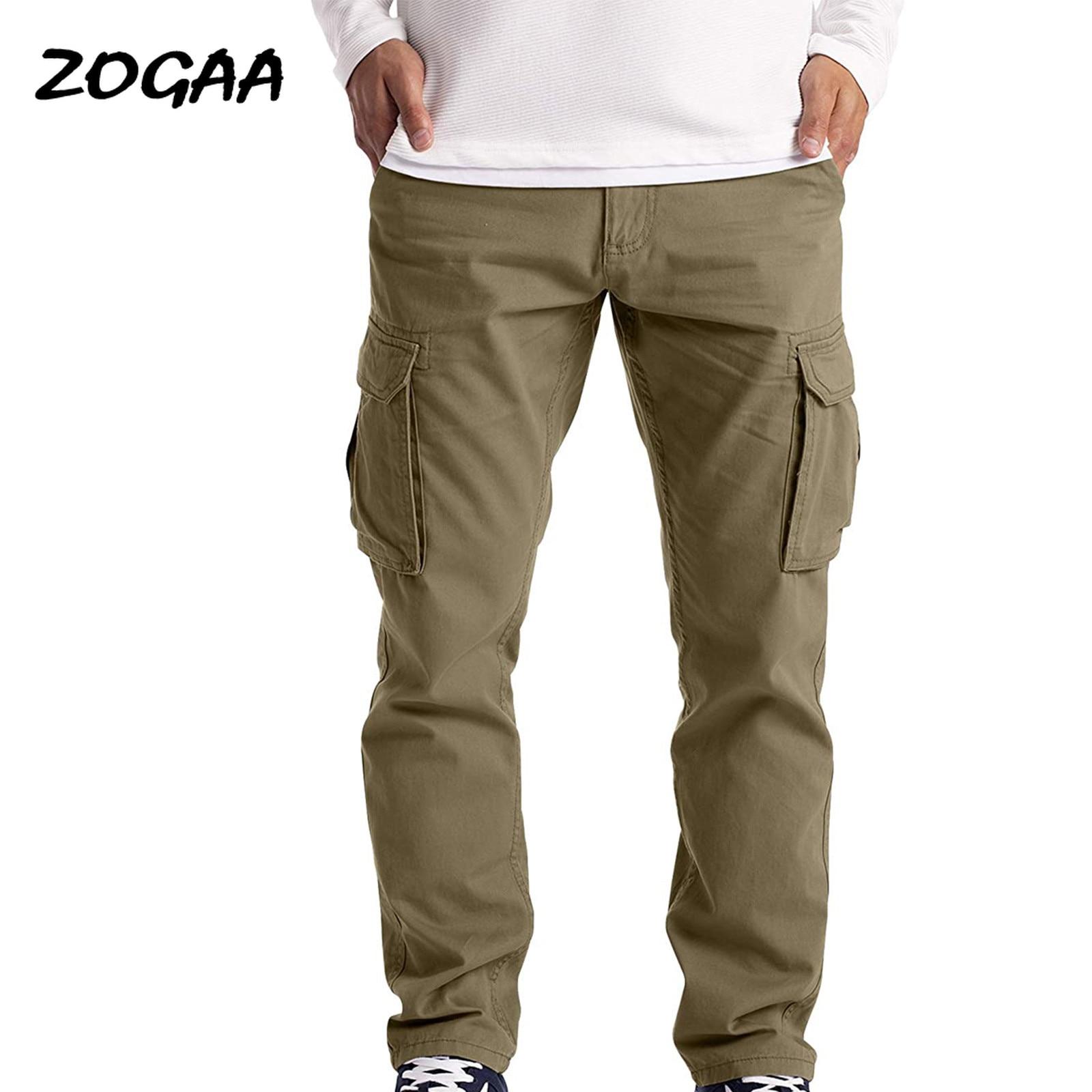 Мужские Брюки с карманами ZOGAA, повседневные Прямые брюки для молодежи, модная свободная уличная одежда, универсальные брюки для молодежи на ...