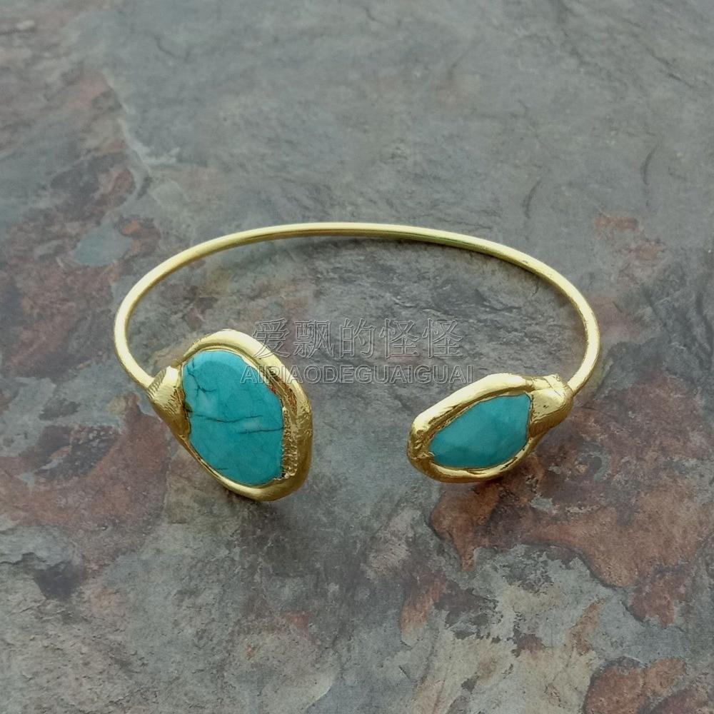 B041524 pulsera chapada en piedra azul 24 K