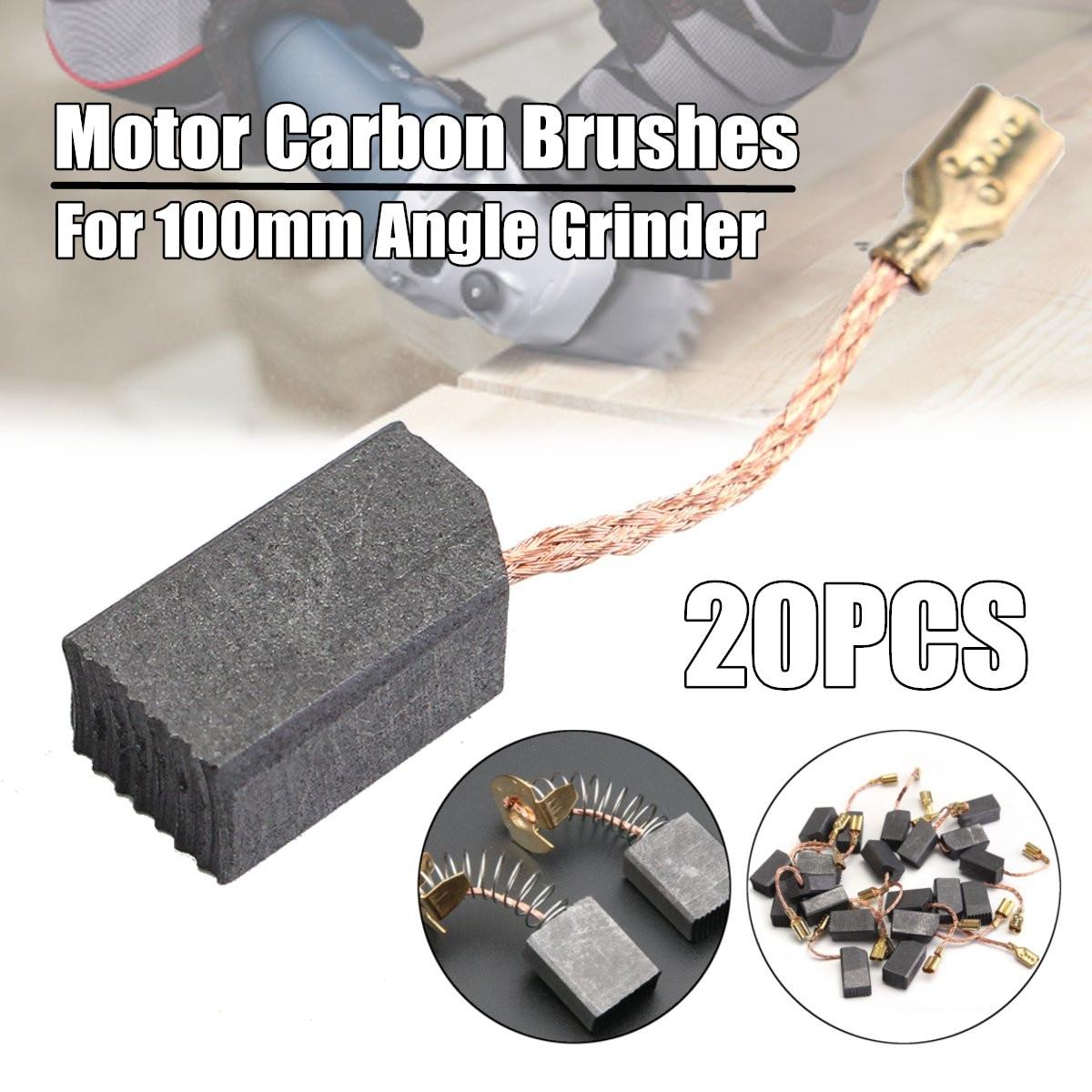 Conjunto de escovas de carbono, motor de grafite, fio de cobre apertado para martelo elétrico/broca para dewalt 100mm, 20 peças moedor de ângulo