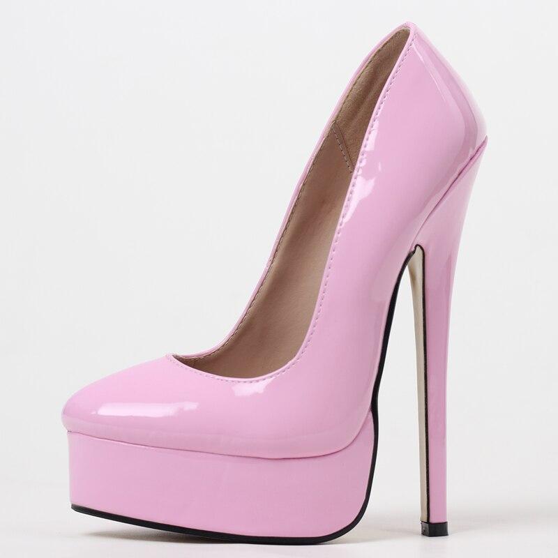 JIALUOWEI صنم عالية الكعب 18 سنتيمتر أشار تو مضخات أحذية الحفلات حجم كبير 36-46