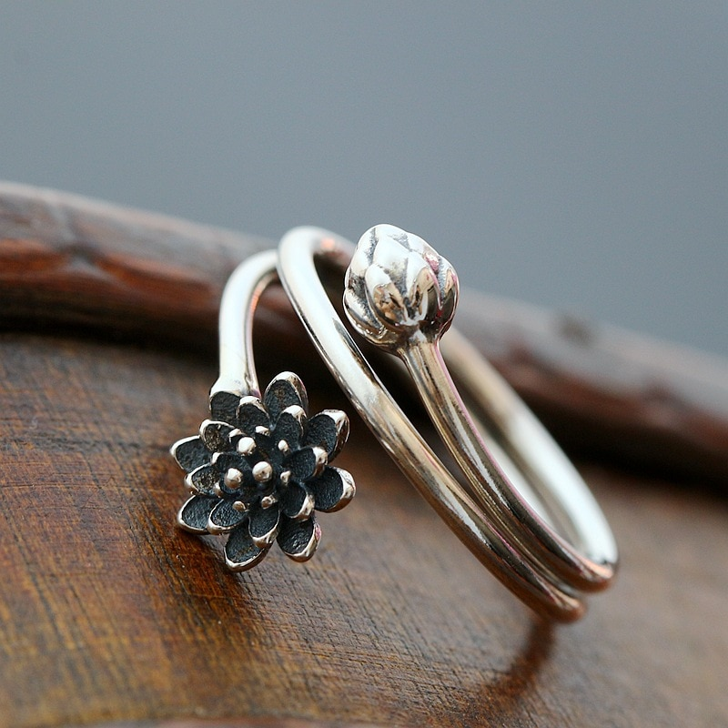 Plata de Ley 925 antiguo artesano de plata anillo de loto hecho a mano hoja de loto fino anillo Simple de moda abierto accesorios de señora