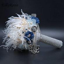 Bleu poussiéreux plume mariage Bouquet paillettes gland brillant cristaux couronne luxe bijoux Bouquet mariée Bouquet princesse fée