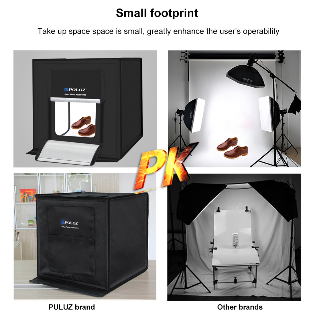 PULUZ 60*60cm/40*40cm Photography Studio Box AU/UK/US/EU Plug Mini Studio Photo Box Softbox With Light Photography Accessories enlarge