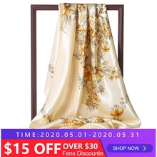 Silk Large Square Scarf Lady Bandana Head Wraps for Women Shawls Fashion Foulard Female Hijab 2020 Neckerchief Scarves Pashmina